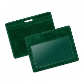 Карман из бархата горизонтальный - зеленый