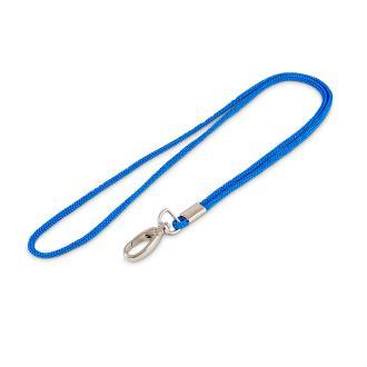 Однотонный шнурок. Карабин-клешня. Голубой