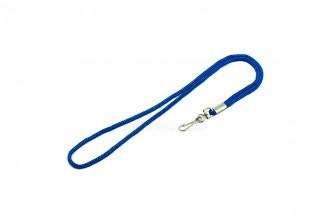 Однотонный шнурок. Синий с поворотным карабином